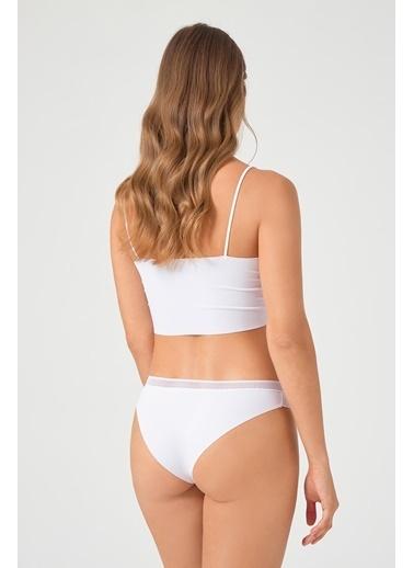 Cottonhill Vişne File Lastikli Lazer Kesim Kadın Bikini Külot Beyaz